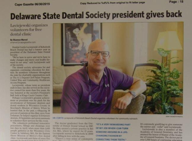 Dr. Leciejewski featured in the paper at Rehoboth Beach Dental in Rehoboth Beach, DE